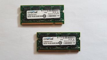 4GB 2x2GB Crucial PC2-5300 RAM Speicher DDR2 DIMM 667MHz 200pin Notebook Laptop